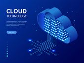 Isometric Modern Cloud Technology And Networking Concept. Web Cloud Technology Business. Internet Da poster