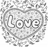 Coloring Page For Adults With Mandala And Love Word. Doodle Lettering Ink Outline Artwork. Vector Il poster