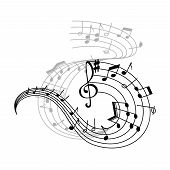 Music Note Stave Icon Of Musical Notation Symbols. Swirling Musical Staff With Notes Of Different Du poster