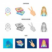 Amulet, Hippie Girl, Freedom Sign, Old Cassette.hippy Set Collection Icons In Cartoon, Flat, Monochr poster