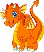 Cartoon Little Dragon Isolated On White Background poster