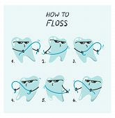 Vector How To Illustration Of Flossing Teeth In Viral Floss Dance Movement Direction Tutorial. poster