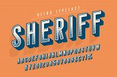 Sheriff Trendy Vintage Display Font Design, Alphabet, Typeface, Letters And Numbers, Typography. Swa poster