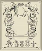 Heraldic elements.