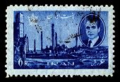 IRAN-CIRCA 1966:A stamp printed in Iran shows image of Persepolis was the ceremonial capital of the Achaemenid Empire, circa 1966.