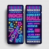 Rock Concert Ticket Design Template In Modern Trend Style. Concert Tickets Vector Illustration, Neon poster