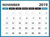 Desk Calendar For November 2019 Template, Printable Calendar, Planner Design Template,  Week Starts  poster