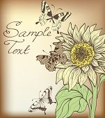 Decorative Card With Sunflower And Butterflies