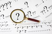Question Concept - A Conceptual Look At  Questions. A Magnifyimg Glass Over A Question Mark, And A Q poster