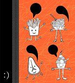 Desenhos de alimentos com balão de diálogo
