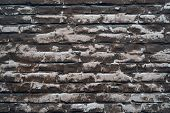 Background Of Bricks Under A Thin Layer Of Painted Faded Putty poster