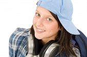 Smiling Teenager Girl Enjoy Music With Headphones