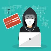 Hacking Phishing Attack. Hacker Sitting At The Desktop And Hacking Secret Data On The Laptop. World  poster