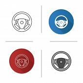Car Rudder Icon. Flat Design, Linear And Color Styles. Steering Wheel. Isolated Vector Illustrations poster