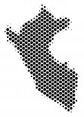 Abstract Peru Map. Vector Halftone Geographic Scheme. Cartographic Pixel Composition. Schematic Peru poster
