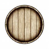 Wooden Barrel Isolated On White Background, Top View. 3d Rendering. Old Wine, Whiskey, Beer Barrel. poster