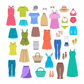 Women Clothes And Accessories Collection For Summer Vacation. Seasonal Female Outfit Flat Vector Ico poster