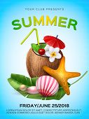 Summer Cocktail Party Poster Template. Realistic 3d Coconut Juice Cocktail With Mint Leaf And Plumer poster