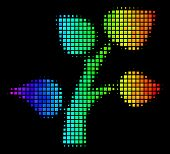 Pixel Bright Halftone Flora Plant Icon Using Rainbow Color Tints With Horizontal Gradient On A Black poster