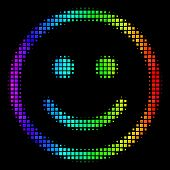 Pixel Colorful Halftone Glad Smiley Icon Using Spectrum Color Tones With Horizontal Gradient On A Bl poster