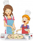 Illustration of a Woman and a Boy Making Homemade Pizza