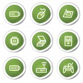 Electronics web icons set 2, green  stickers