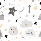 Pattern Scandinavian Kids Doodles Elements Monochrome Elements Cute Faces Of Bear Fir Tree Lettering poster