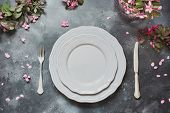 Spring Elegant Table Place Setting With Romantic Pink Flowers, Silverware On Vintage Background. Top poster