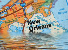 picture of katrina  - Map of New Orleans with a flood illustration - JPG