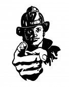 Pointing Fireman - Retro Clipart Illustration