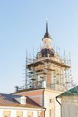 Restoration Of The Bell Tower On The Tower Of A Traditional Orthodox Church In Moscow. Wooden Walkwa poster