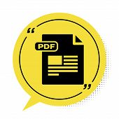 Black Pdf File Document. Download Pdf Button Icon Isolated On White Background. Pdf File Symbol. Yel poster