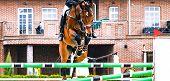 Sorrel Dressage Horse And Rider In Red Uniform Performing Jump At Show Jumping Competition. Equestri poster
