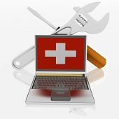 laptops diagnostic. 3d illustration