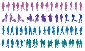 peões vector silhouettes