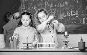 Lab Microscope. Students Doing Biology Experiments With Microscope. Little Children At Laboratory. C poster