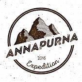 Mountain Annapurna Outdoor Adventure Insignia. Climbing, Trekking, Hiking, Mountaineering And Other poster