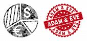 Collage Currency Pie Chart And Corroded Stamp Seal With Adam And Eve Phrase. Mosaic Vector Is Create poster