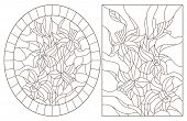 A Set Of Contour Illustrations Of Stained Glass Windows With Daffodils In Frames, Dark Contours On A poster