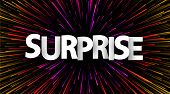 Surprise Poster With Colorful Spectrum Firework. Happy Emotion. Vector Background. poster