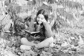 R Is For Reading. Cute Small Child Learn Reading On Sunny Autumn Day. Adorable Little Girl Reading B poster