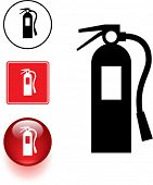 fire extinguisher symbol sign and button