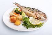Sea Bream fish with vegetables on white plate
