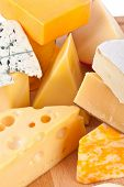 stock photo of brie cheese  - Various types of cheese composition - JPG