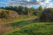 Stone Walls And Moats Covered By The Grass In Annenkrone In Sunny Day In Hdr Processing, Vyborg, Len poster