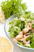 traditional caesar salad with shrimp