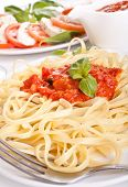 Linguine pasta with fresh tomato sauce and basil