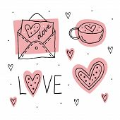 St.valentine`s Day Set Of Elements, Clipart, Stickers. Love Letter, Cup, Love Lettering And Hearts L poster