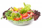 stock photo of low-light  - serving of healthy vegetables salad - JPG