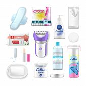 Female Hygiene Products, Woman Health Care Personal Daily Use Vector Realistic Acessories. Female Ta poster